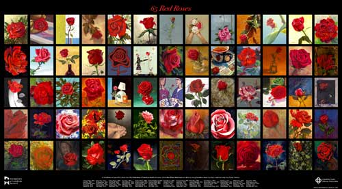 Painting 65 Red Roses